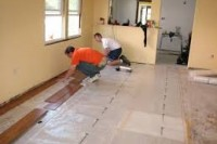 Laying the floor slab on the screed